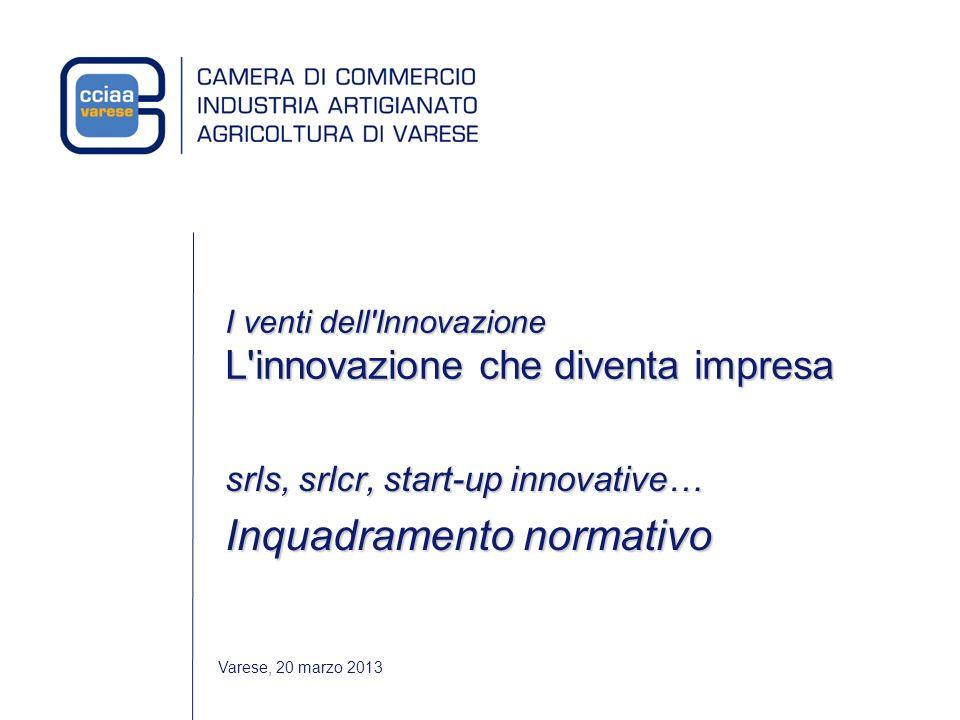 Varese, 20 marzo 2013 I venti dell Innovazione L innovazione che diventa impresa srls, srlcr, start-up innovative… Inquadramento normativo