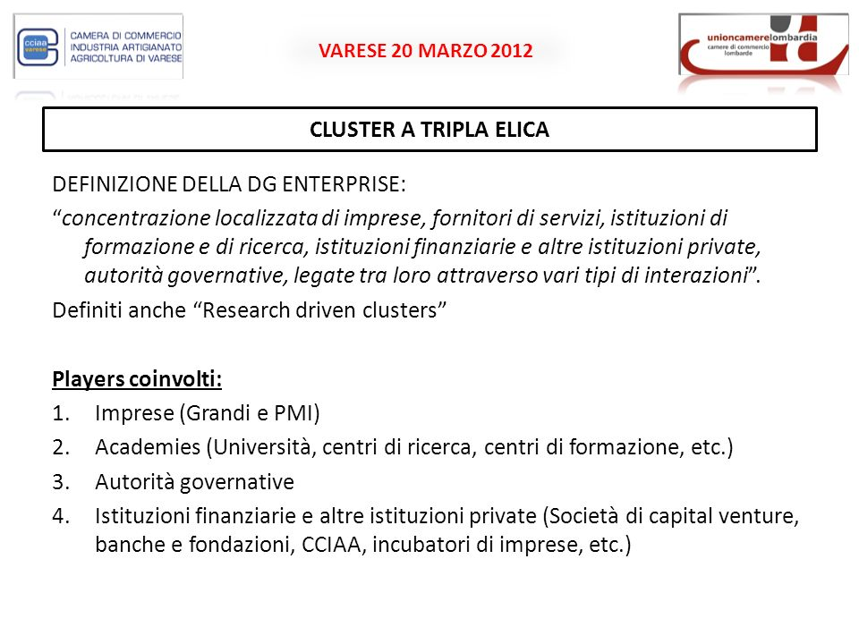 VARESE 20 MARZO 2012 PROMOTION AND DEVELOPMENT OF WORLD-CLASS CLUSTERS IN EUROPE OBIETTIVO: Strand 1: Promoting international cluster activities in the CIP participating countries (3/G/ENT/CIP/11/C/N04C011).