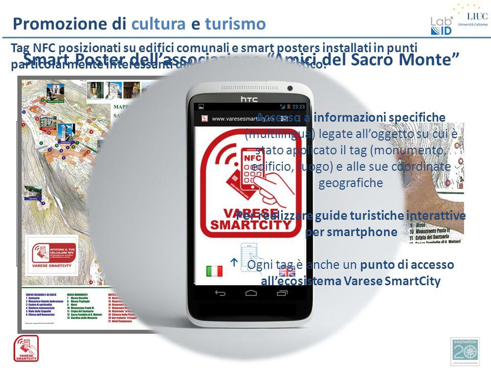 Promozione di cultura e turismo Tag NFC posizionati su edifici comunali e smart posters installati in punti particolarmente interessanti dal punto di