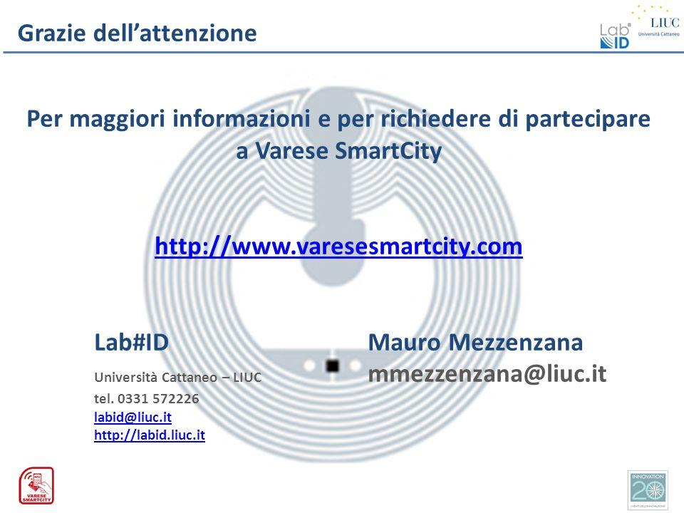 Grazie dellattenzione Per maggiori informazioni e per richiedere di partecipare a Varese SmartCity http://www.varesesmartcity.com Lab#IDMauro Mezzenza