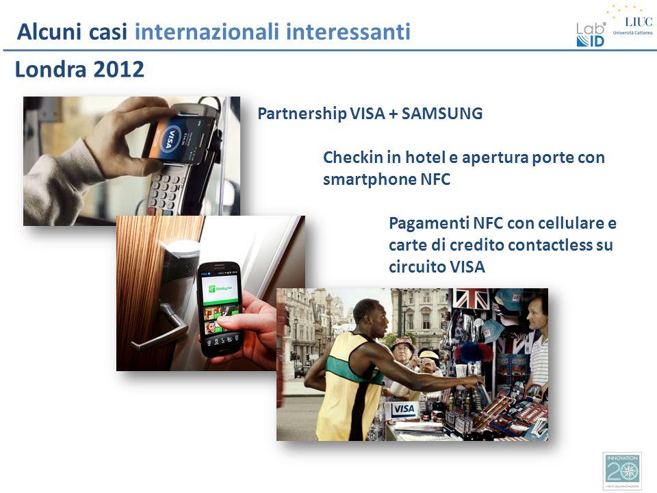 Alcuni casi internazionali interessanti Londra 2012 Partnership VISA + SAMSUNG Checkin in hotel e apertura porte con smartphone NFC Pagamenti NFC con