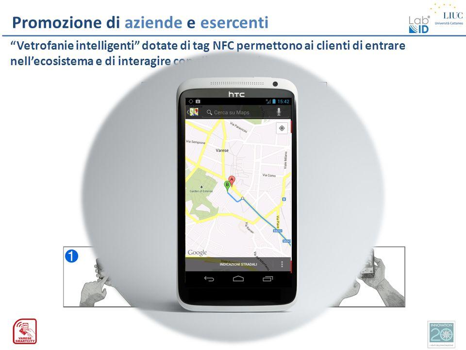 Promozione di aziende e esercenti Vetrofanie intelligenti dotate di tag NFC permettono ai clienti di entrare nellecosistema e di interagire con gli es
