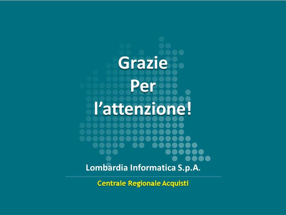 www.centraleacquisti.regione.lombardia.it 13 Centrale Regionale Acquisti Lombardia Informatica S.p.A. Grazie Per lattenzione! Grazie Per lattenzione!