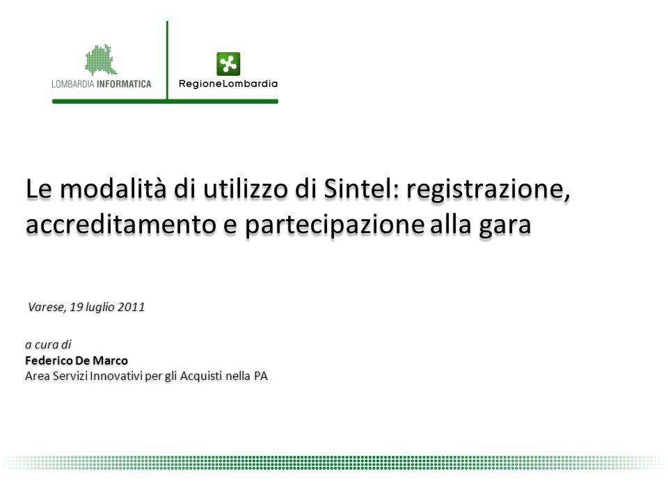 Le modalità di utilizzo di Sintel: registrazione, accreditamento e partecipazione alla gara