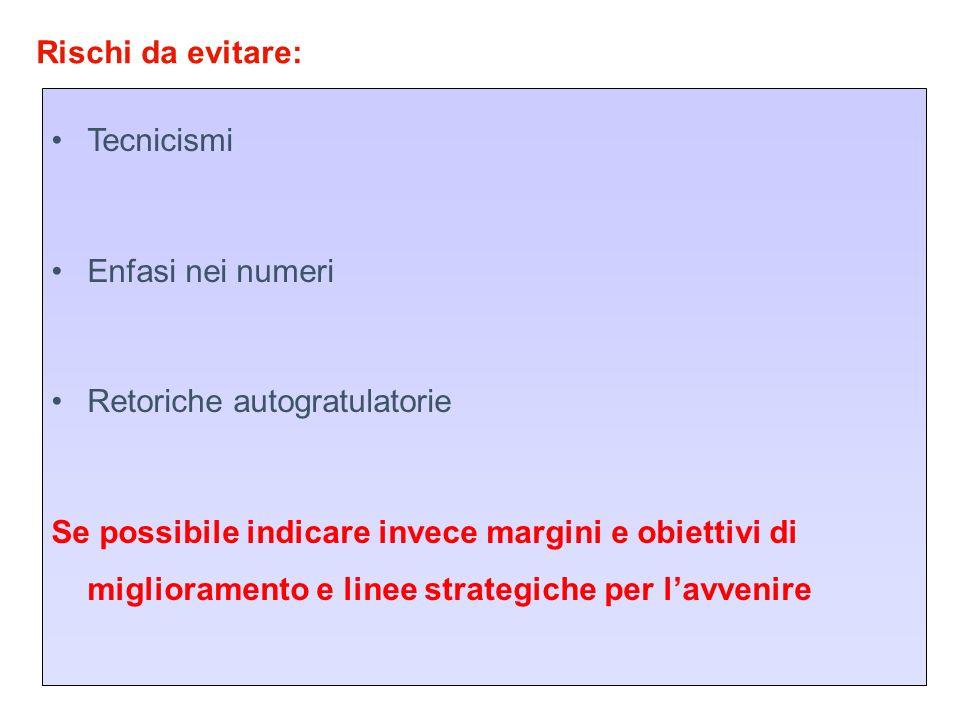 Rischi da evitare: Tecnicismi Enfasi nei numeri Retoriche autogratulatorie Se possibile indicare invece margini e obiettivi di miglioramento e linee s