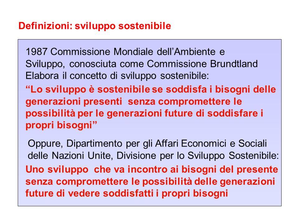 Definizioni: sviluppo sostenibile 1987 Commissione Mondiale dellAmbiente e Sviluppo, conosciuta come Commissione Brundtland Elabora il concetto di svi