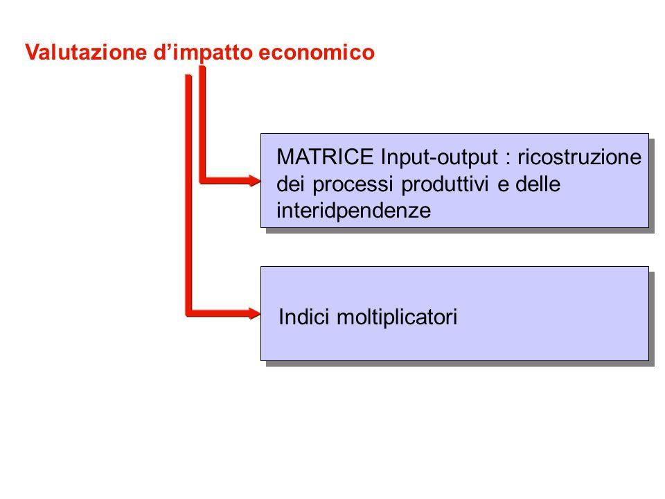 MATRICE Input-output : ricostruzione dei processi produttivi e delle interidpendenze Indici moltiplicatori Valutazione dimpatto economico