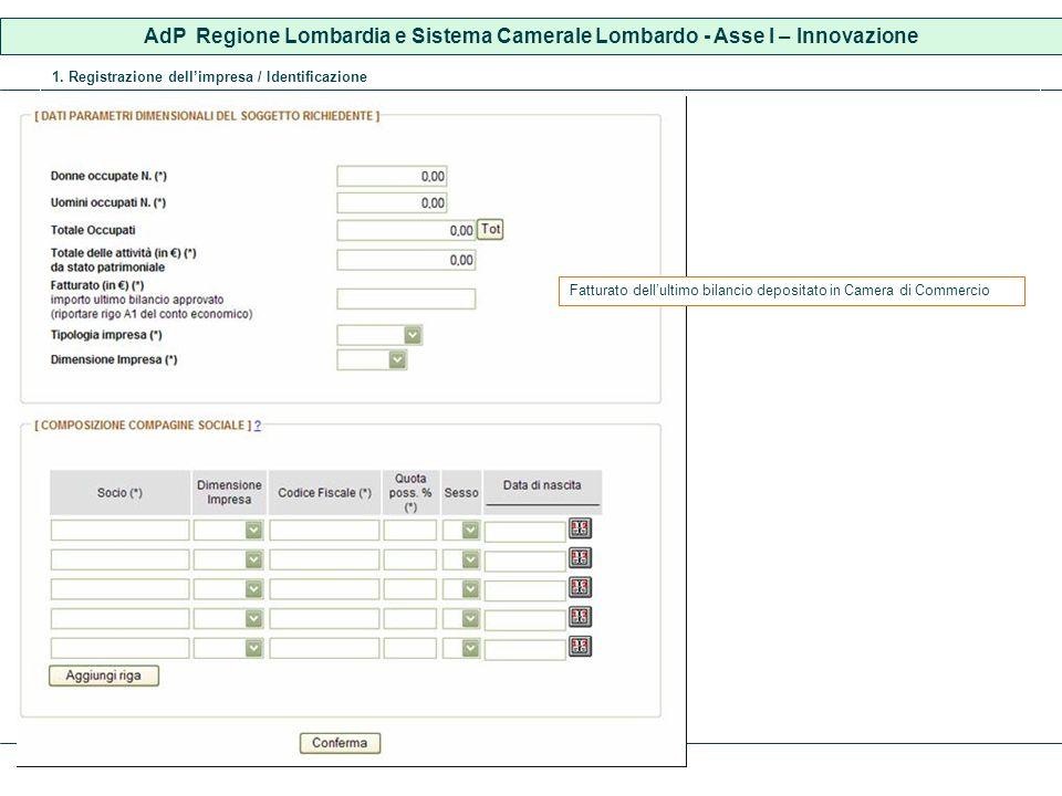 1. Registrazione dellimpresa / Identificazione Fatturato dellultimo bilancio depositato in Camera di Commercio AdP Regione Lombardia e Sistema Cameral
