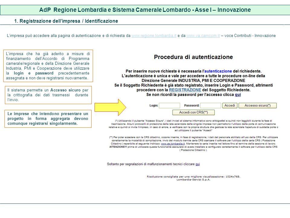 1. Registrazione dellimpresa / Identificazione Limpresa può accedere alla pagina di autenticazione e di richiesta da www.regione.lombardia.it e da www