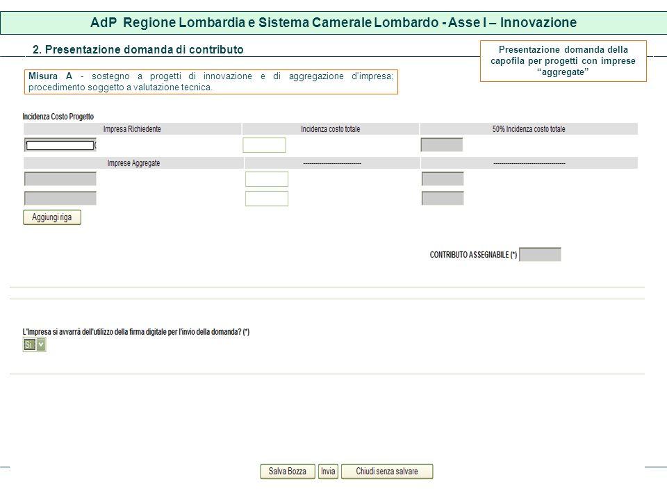 2. Presentazione domanda di contributo AdP Regione Lombardia e Sistema Camerale Lombardo - Asse I – Innovazione Presentazione domanda della capofila p