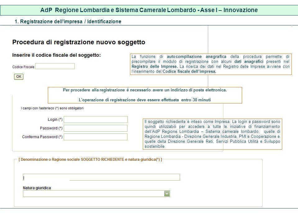 1. Registrazione dellimpresa / Identificazione Il soggetto richiedente è inteso come Impresa.