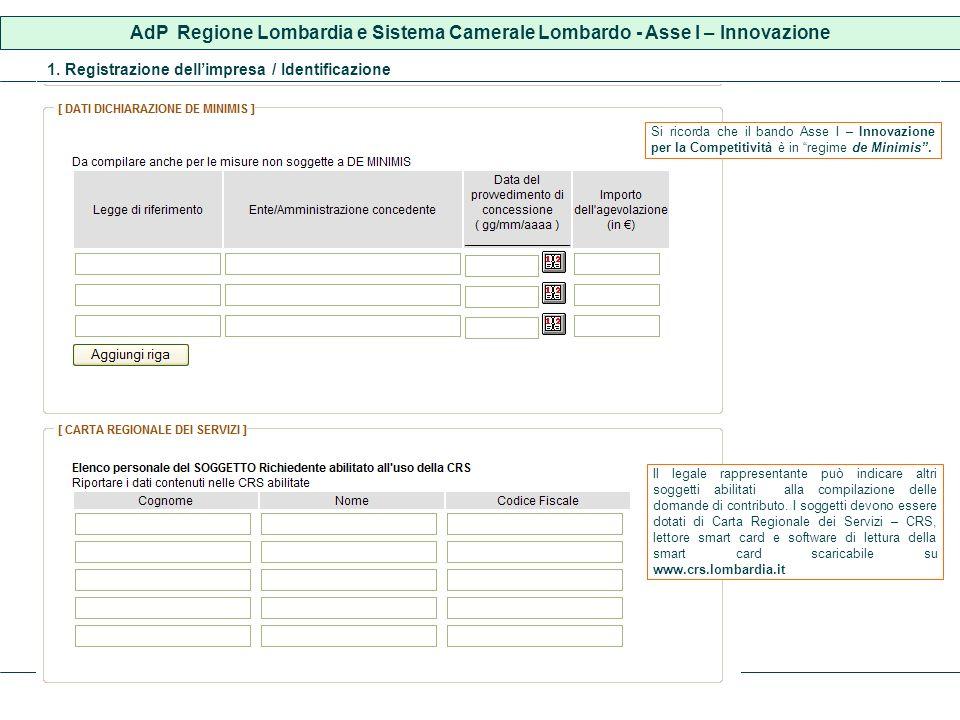 1. Registrazione dellimpresa / Identificazione Il legale rappresentante può indicare altri soggetti abilitati alla compilazione delle domande di contr