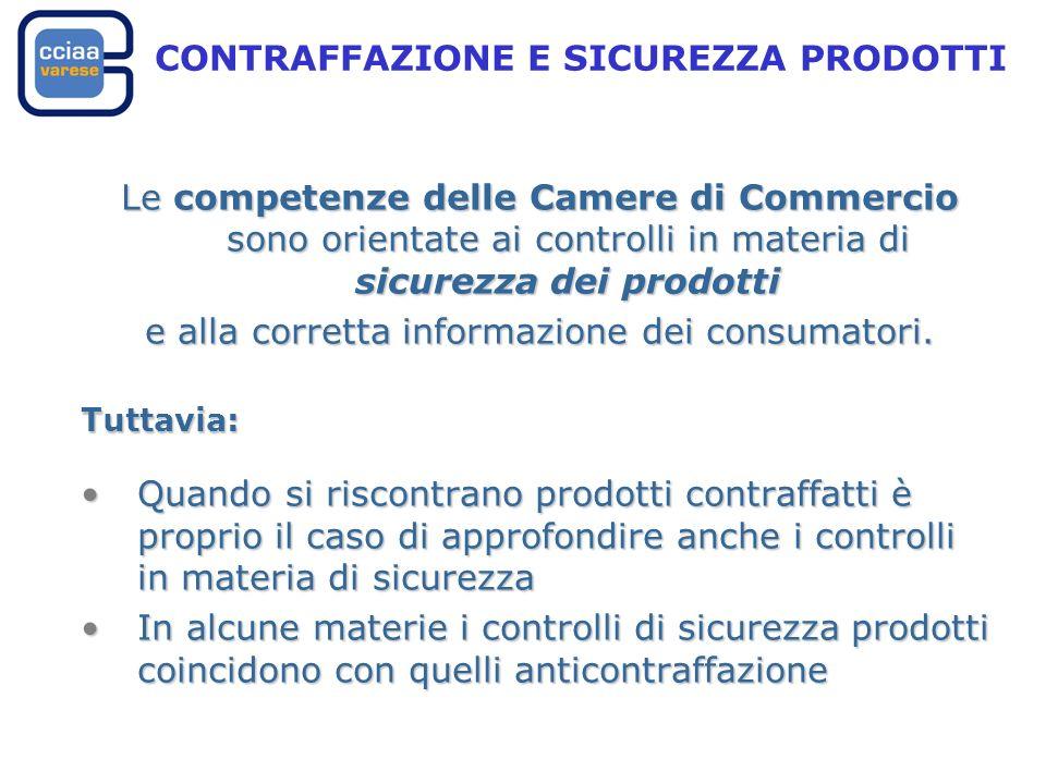 Le competenze delle Camere di Commercio sono orientate ai controlli in materia di sicurezza dei prodotti e alla corretta informazione dei consumatori.