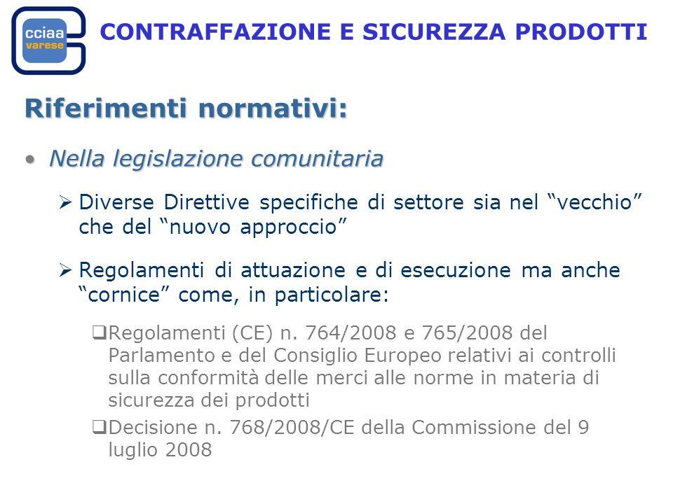 CONTRAFFAZIONE E SICUREZZA PRODOTTI Riferimenti normativi: Nella legislazione comunitariaNella legislazione comunitaria Diverse Direttive specifiche di settore sia nel vecchio che del nuovo approccio Regolamenti di attuazione e di esecuzione ma anche cornice come, in particolare: Regolamenti (CE) n.