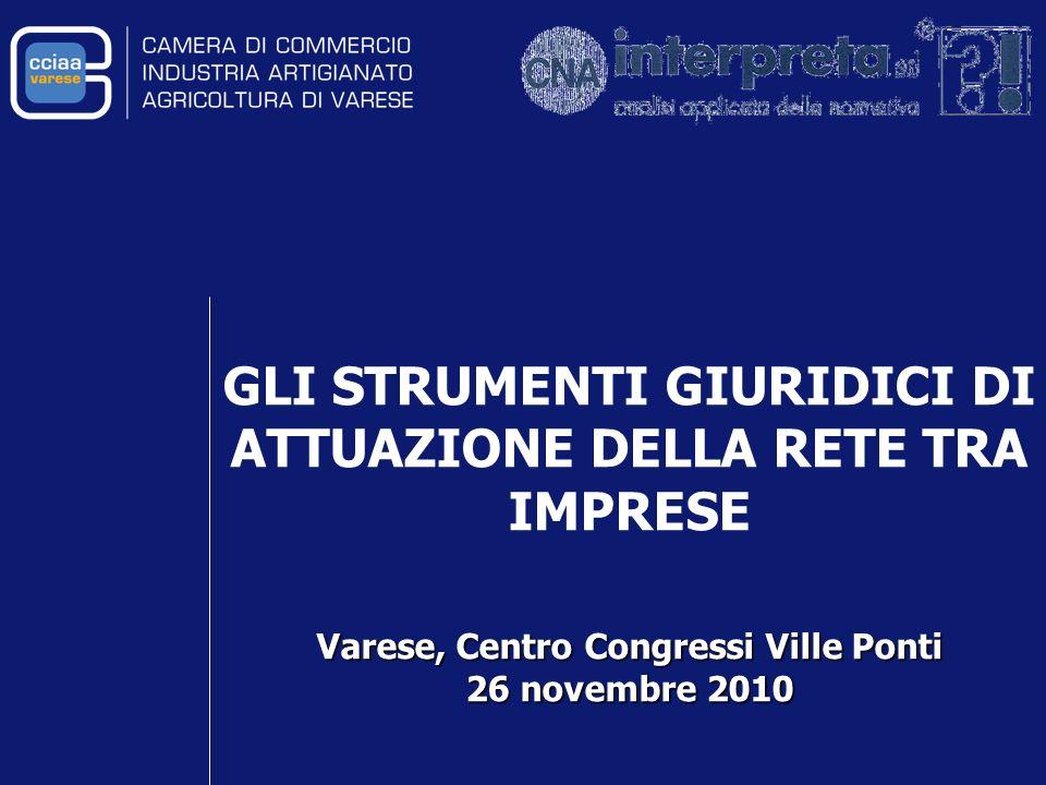 GLI STRUMENTI GIURIDICI DI ATTUAZIONE DELLA RETE TRA IMPRESE Varese, Centro Congressi Ville Ponti 26 novembre 2010