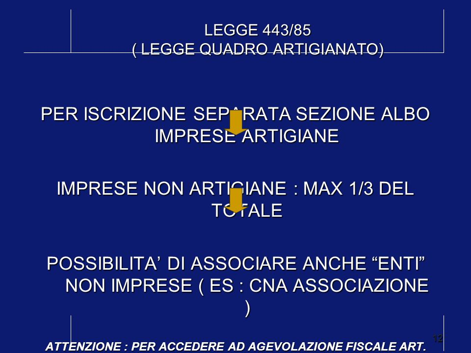 12 LEGGE 443/85 ( LEGGE QUADRO ARTIGIANATO) PER ISCRIZIONE SEPARATA SEZIONE ALBO IMPRESE ARTIGIANE IMPRESE NON ARTIGIANE : MAX 1/3 DEL TOTALE POSSIBIL