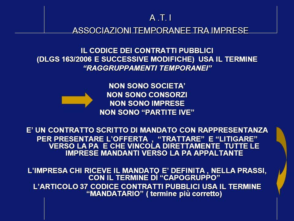 A.T. I ASSOCIAZIONI TEMPORANEE TRA IMPRESE IL CODICE DEI CONTRATTI PUBBLICI (DLGS 163/2006 E SUCCESSIVE MODIFICHE) USA IL TERMINE RAGGRUPPAMENTI TEMPO