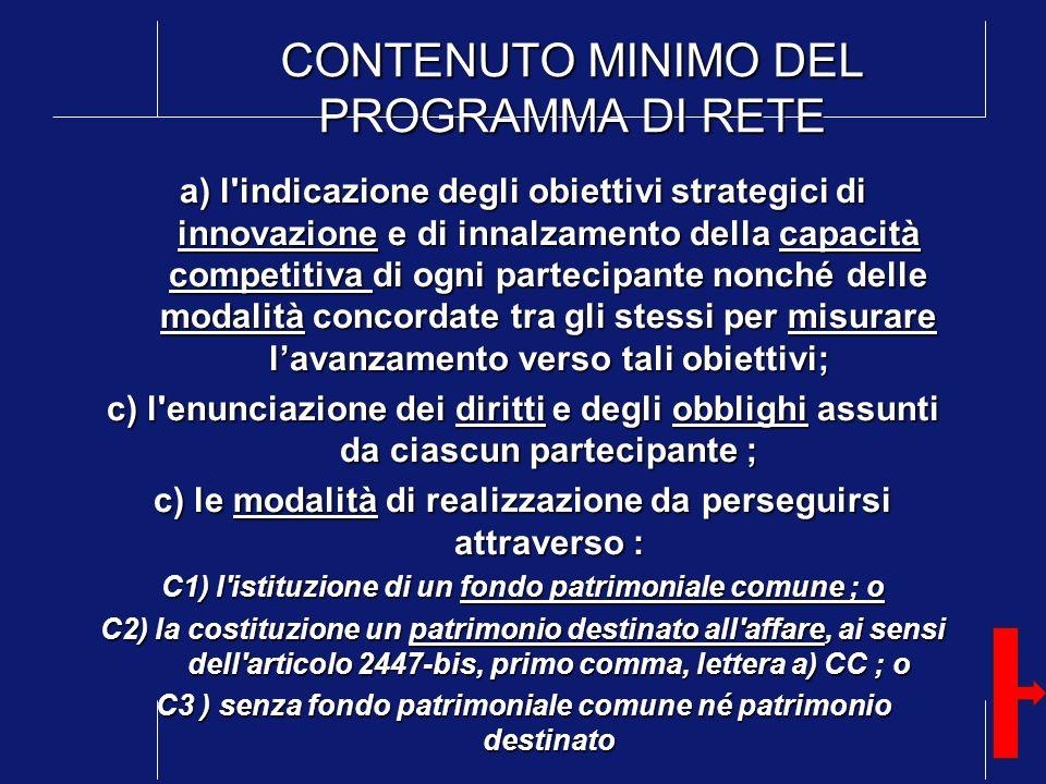 CONTENUTO MINIMO DEL PROGRAMMA DI RETE a) l'indicazione degli obiettivi strategici di innovazione e di innalzamento della capacità competitiva di ogni