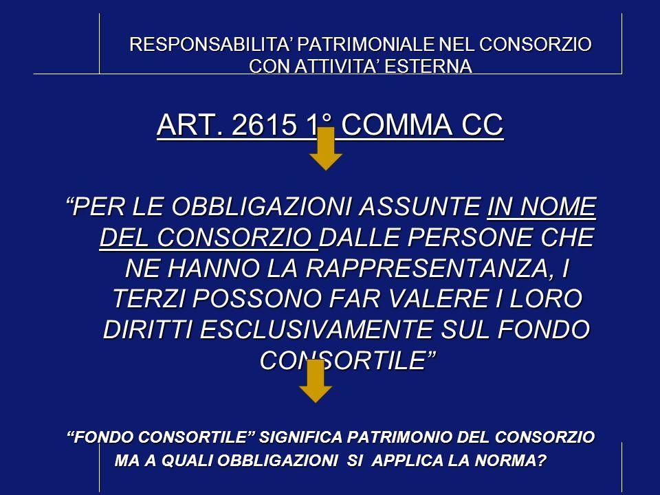 RESPONSABILITA PATRIMONIALE NEL CONSORZIO CON ATTIVITA ESTERNA ART. 2615 1° COMMA CC PER LE OBBLIGAZIONI ASSUNTE IN NOME DEL CONSORZIO DALLE PERSONE C