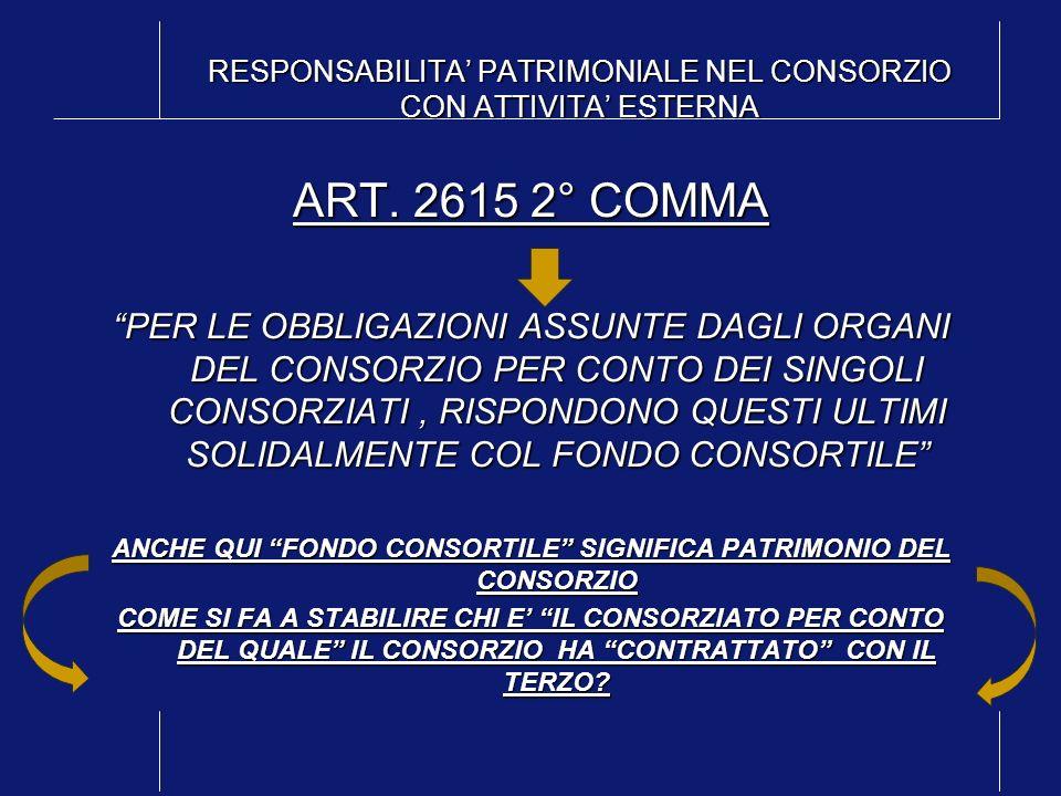 RESPONSABILITA PATRIMONIALE NEL CONSORZIO CON ATTIVITA ESTERNA ART. 2615 2° COMMA PER LE OBBLIGAZIONI ASSUNTE DAGLI ORGANI DEL CONSORZIO PER CONTO DEI