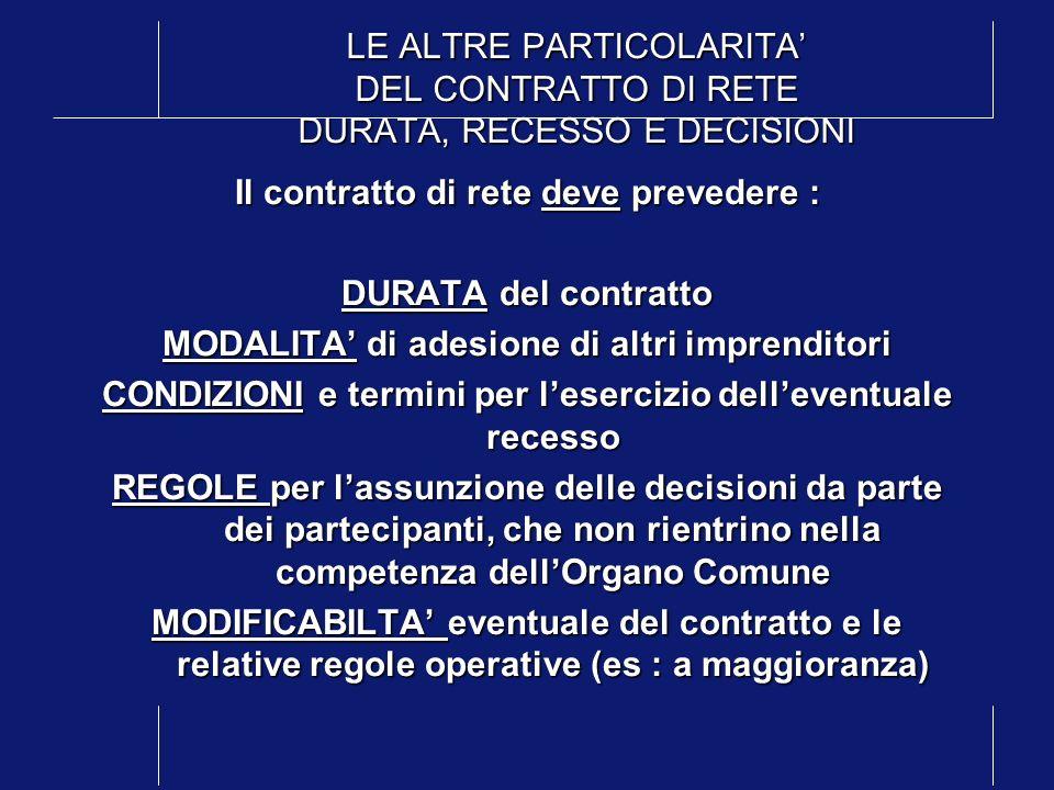 LE ALTRE PARTICOLARITA DEL CONTRATTO DI RETE DURATA, RECESSO E DECISIONI Il contratto di rete deve prevedere : DURATA del contratto MODALITA di adesio