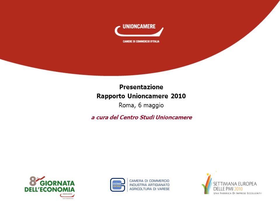 a cura del Centro Studi Unioncamere Presentazione Rapporto Unioncamere 2010 Roma, 6 maggio