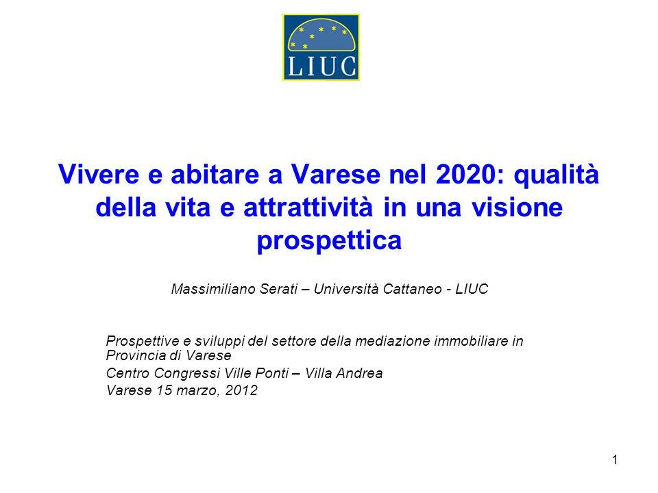 1 Vivere e abitare a Varese nel 2020: qualità della vita e attrattività in una visione prospettica Massimiliano Serati – Università Cattaneo - LIUC Pr