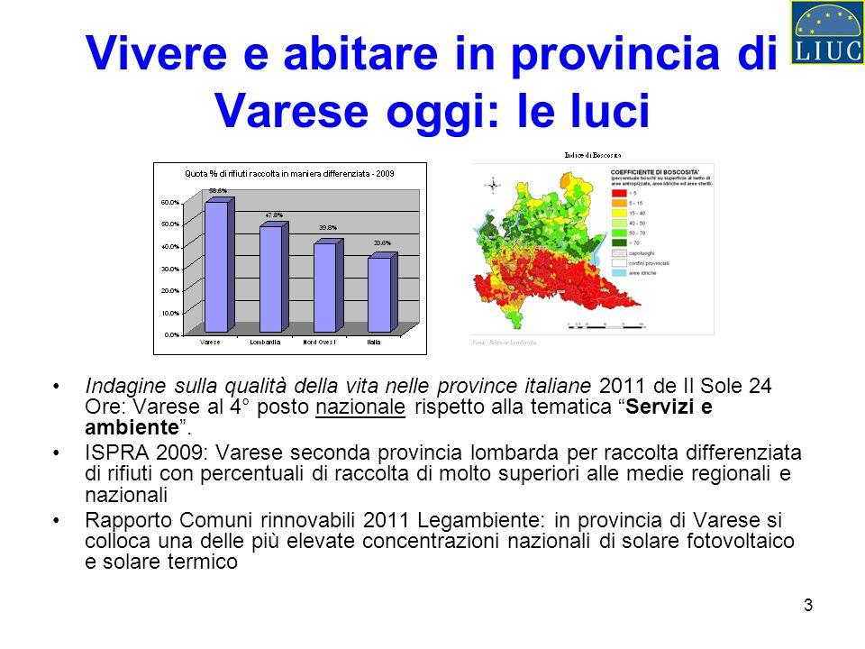 3 Vivere e abitare in provincia di Varese oggi: le luci Indagine sulla qualità della vita nelle province italiane 2011 de Il Sole 24 Ore: Varese al 4°