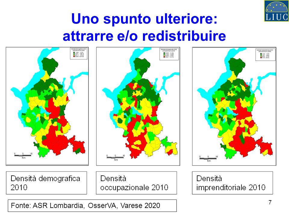 7 Uno spunto ulteriore: attrarre e/o redistribuire Fonte: ASR Lombardia, OsserVA, Varese 2020