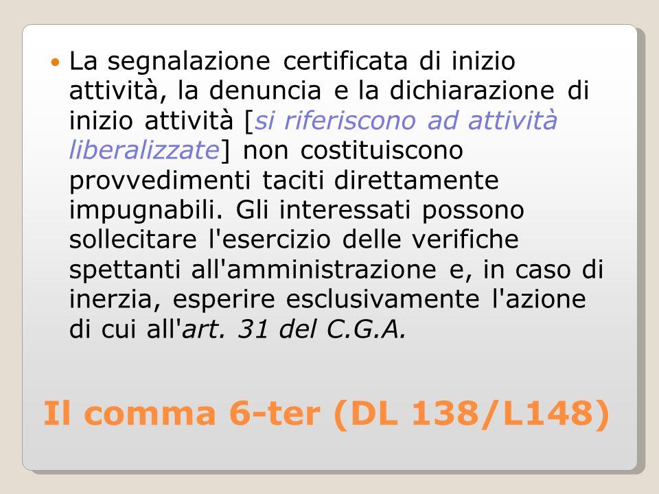 Il comma 6-ter (DL 138/L148) La segnalazione certificata di inizio attività, la denuncia e la dichiarazione di inizio attività [si riferiscono ad attività liberalizzate] non costituiscono provvedimenti taciti direttamente impugnabili.