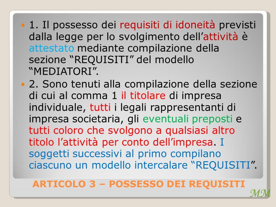 MM ARTICOLO 3 – POSSESSO DEI REQUISITI 1.