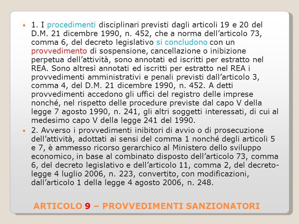 ARTICOLO 9 – PROVVEDIMENTI SANZIONATORI 1.