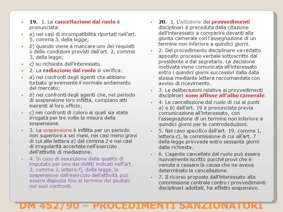 DM 452/90 – PROCEDIMENTI SANZIONATORI 19.1.