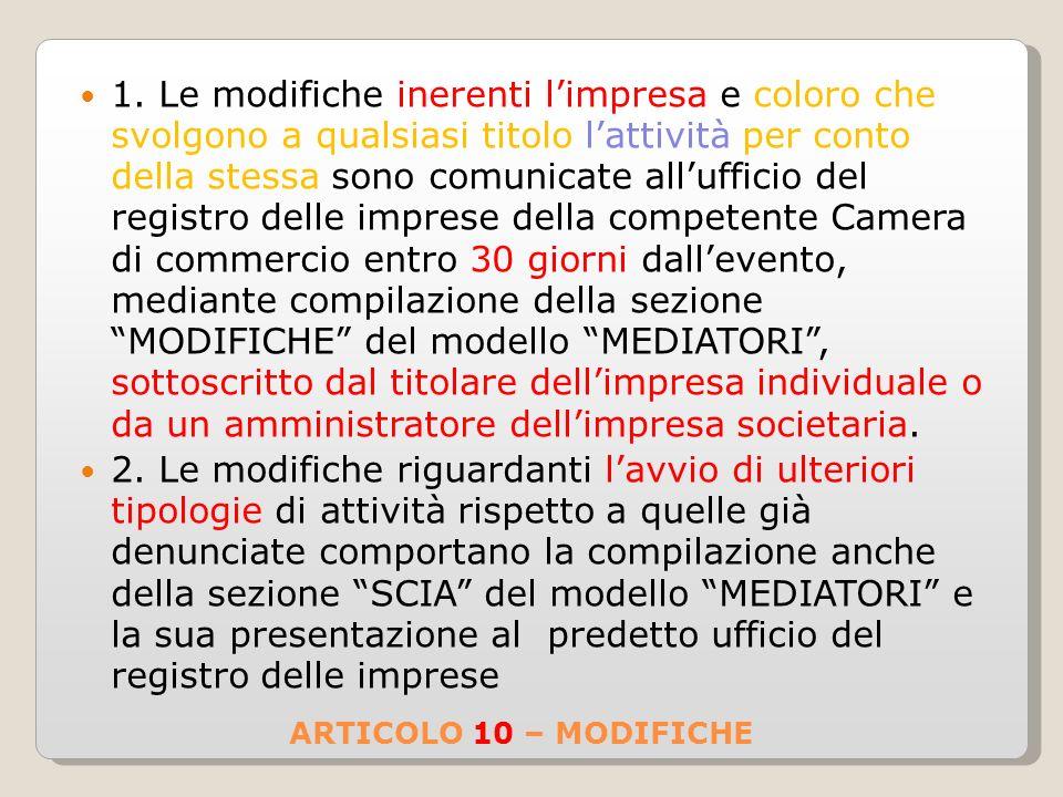 ARTICOLO 10 – MODIFICHE 1.