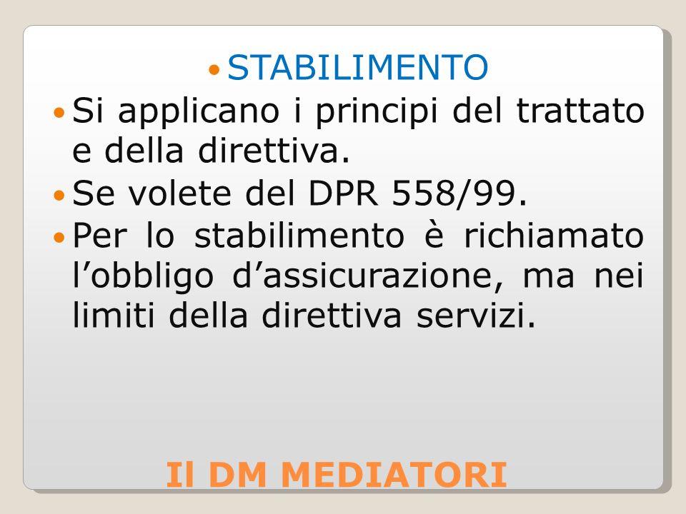 Il DM MEDIATORI STABILIMENTO Si applicano i principi del trattato e della direttiva.