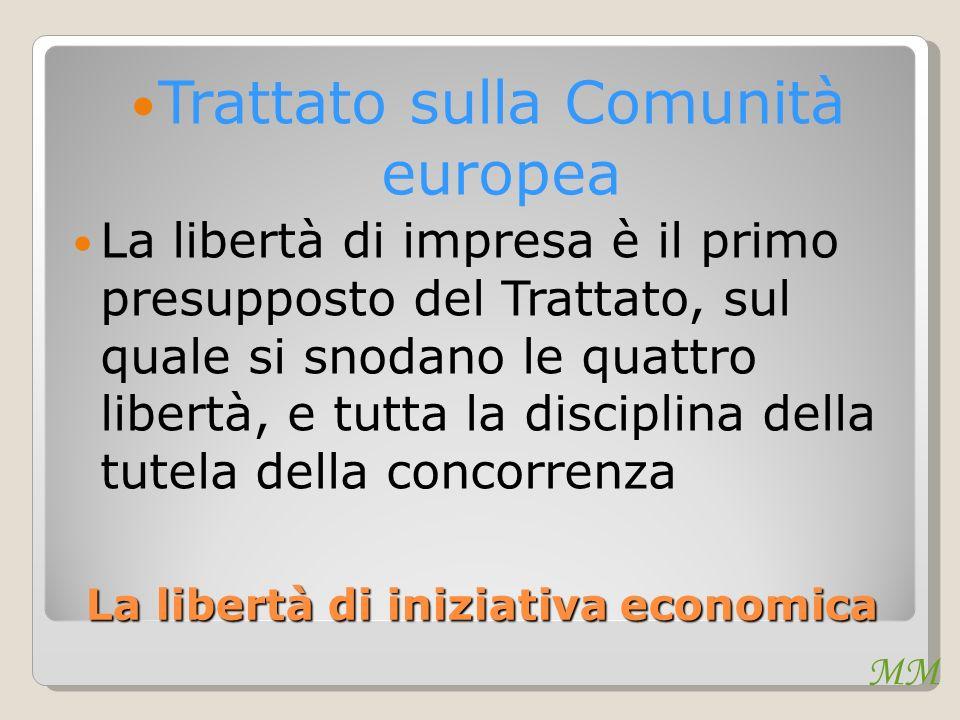 MM La libertà di iniziativa economica Trattato sulla Comunità europea La libertà di impresa è il primo presupposto del Trattato, sul quale si snodano le quattro libertà, e tutta la disciplina della tutela della concorrenza