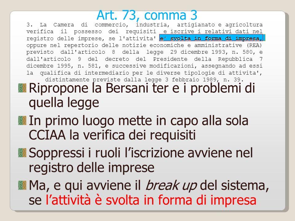 Art. 73, comma 3 Ripropone la Bersani ter e i problemi di quella legge In primo luogo mette in capo alla sola CCIAA la verifica dei requisiti Soppress