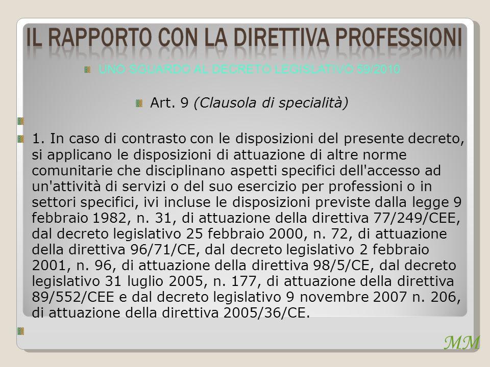 UNO SGUARDO AL DECRETO LEGISLATIVO 59/2010 Art.9 (Clausola di specialità) 1.