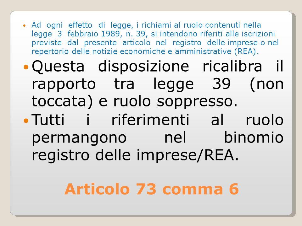 Articolo 73 comma 6 Ad ogni effetto di legge, i richiami al ruolo contenuti nella legge 3 febbraio 1989, n.