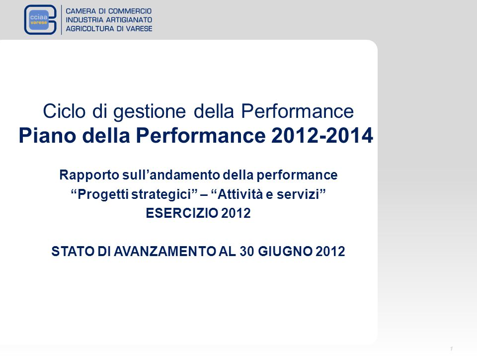 Ciclo di gestione della Performance Piano della Performance 2012-2014 Rapporto sullandamento della performance Progetti strategici – Attività e servizi ESERCIZIO 2012 STATO DI AVANZAMENTO AL 30 GIUGNO 2012 1
