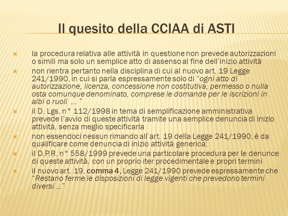 Il quesito della CCIAA di ASTI la procedura relativa alle attività in questione non prevede autorizzazioni o simili ma solo un semplice atto di assenso al fine dellinizio attività non rientra pertanto nella disciplina di cui al nuovo art.