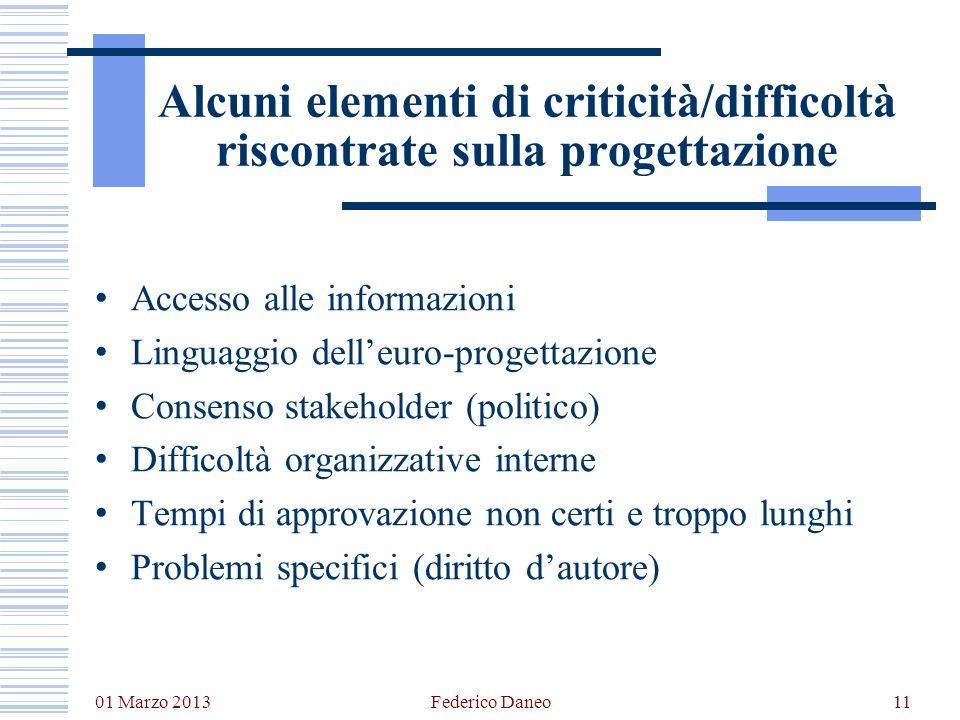 01 Marzo 2013 Federico Daneo11 Alcuni elementi di criticità/difficoltà riscontrate sulla progettazione Accesso alle informazioni Linguaggio delleuro-p