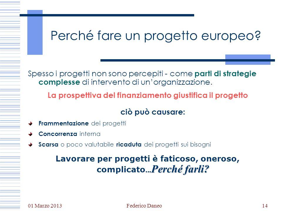 01 Marzo 2013 Federico Daneo14 Perché fare un progetto europeo? Spesso i progetti non sono percepiti - come parti di strategie complesse di intervento