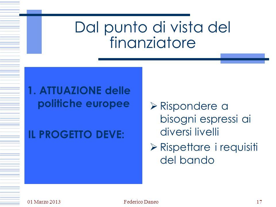 01 Marzo 2013 Federico Daneo17 Dal punto di vista del finanziatore 1. ATTUAZIONE delle politiche europee IL PROGETTO DEVE: Rispondere a bisogni espres