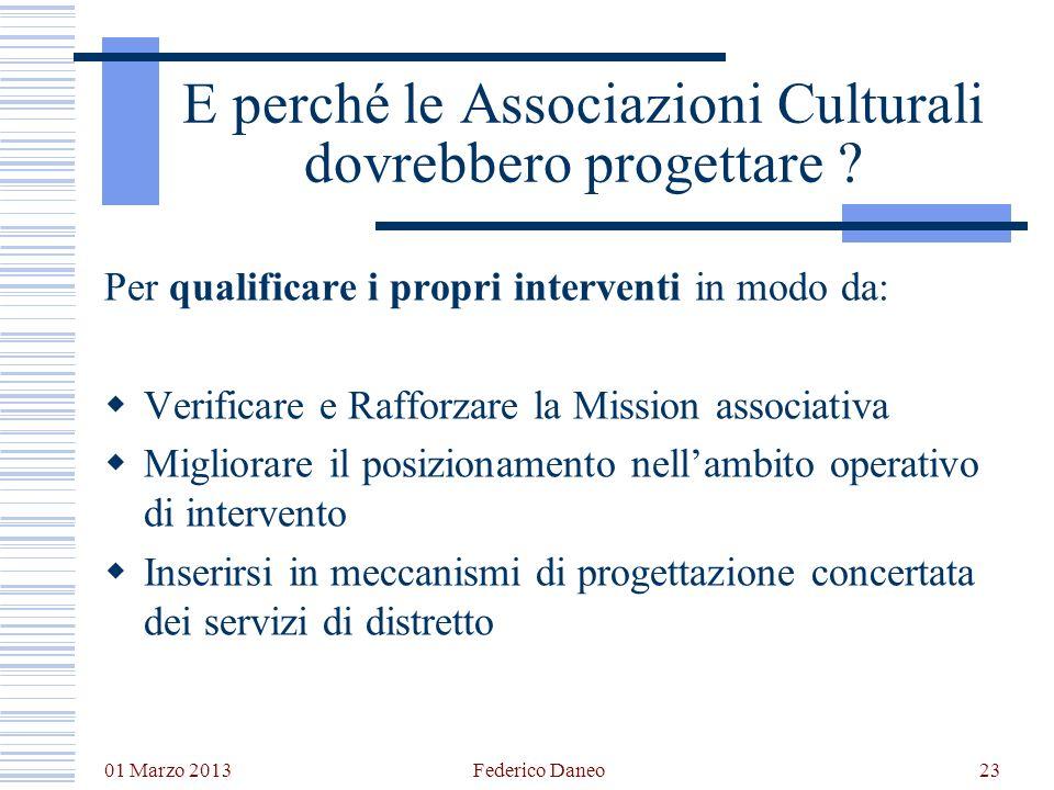 01 Marzo 2013 Federico Daneo23 E perché le Associazioni Culturali dovrebbero progettare ? Per qualificare i propri interventi in modo da: Verificare e