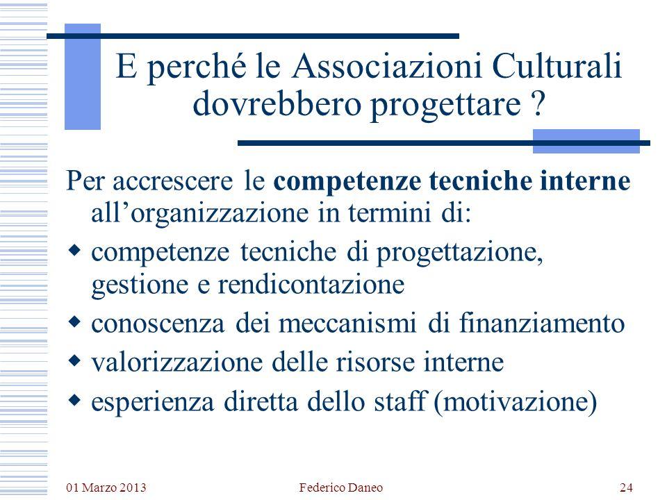 01 Marzo 2013 Federico Daneo24 E perché le Associazioni Culturali dovrebbero progettare ? Per accrescere le competenze tecniche interne allorganizzazi