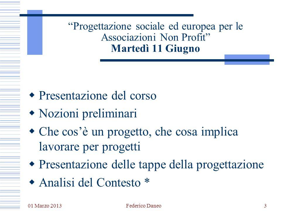 01 Marzo 2013 Federico Daneo3 Progettazione sociale ed europea per le Associazioni Non Profit Martedì 11 Giugno Presentazione del corso Nozioni prelim