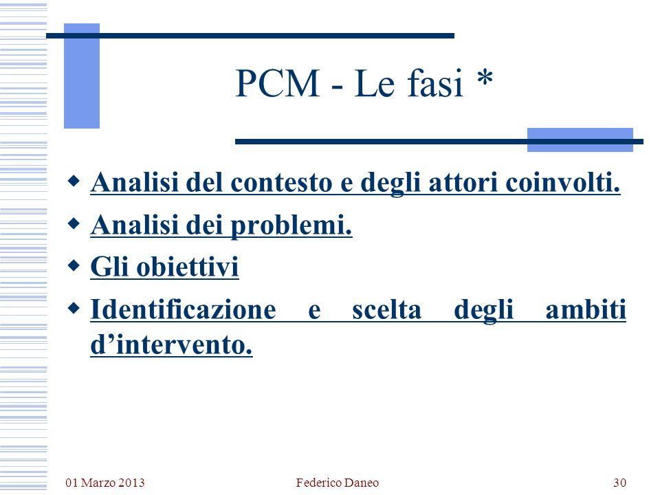 01 Marzo 2013 Federico Daneo30 PCM - Le fasi * Analisi del contesto e degli attori coinvolti. Analisi dei problemi. Gli obiettivi Identificazione e sc