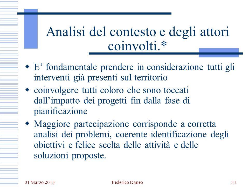 01 Marzo 2013 Federico Daneo31 Analisi del contesto e degli attori coinvolti.* E fondamentale prendere in considerazione tutti gli interventi già pres
