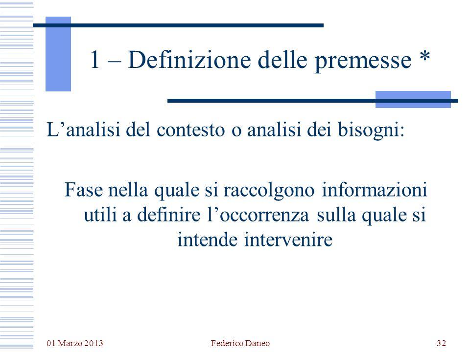 01 Marzo 2013 Federico Daneo32 1 – Definizione delle premesse * Lanalisi del contesto o analisi dei bisogni: Fase nella quale si raccolgono informazio